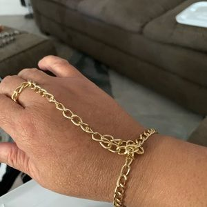 all in one gold chain bracelet ring handmade